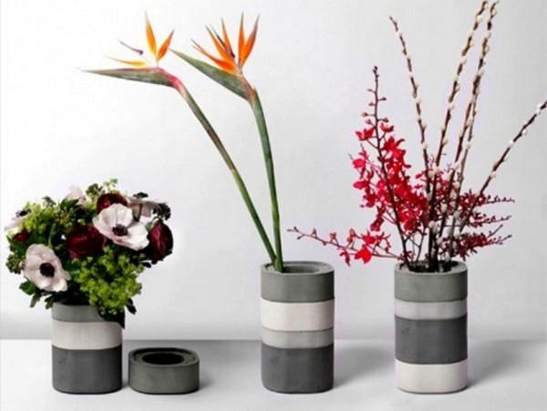 Вдохновение японских bento boxes - бетонные вазы Konkurito vases