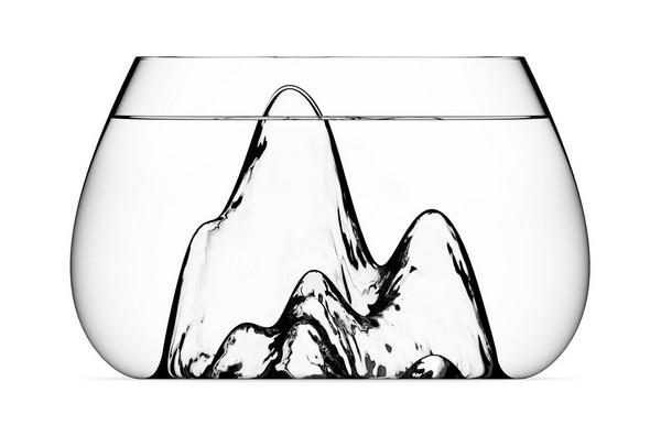 Оригинальный дизайнерский аквариум Fishscape Fishbowl с горными вершинами