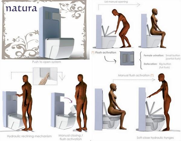 Унитаз с писсуаром для женско-мужских туалетов
