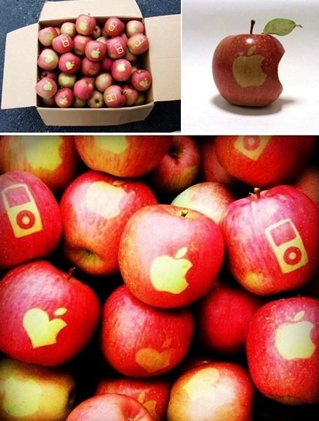 Яблоки с *татуировками* в стиле Apple