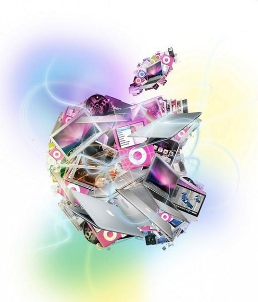 Коллаж-мозаика на тему Apple из гаджетов Apple