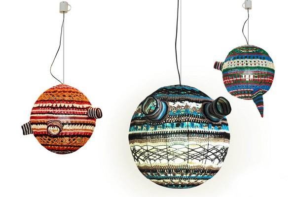 Scarfty Lamp, вязаные светильники-шарфы от студии Decorkuznetsov