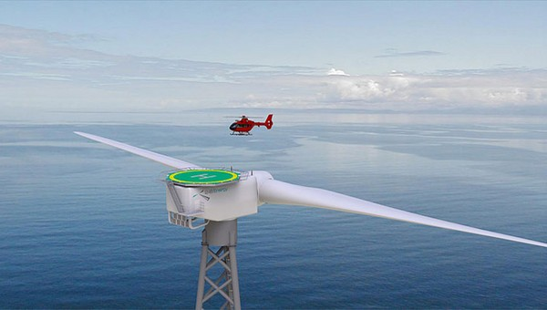 Ветряные турбины с вертолетными площадками
