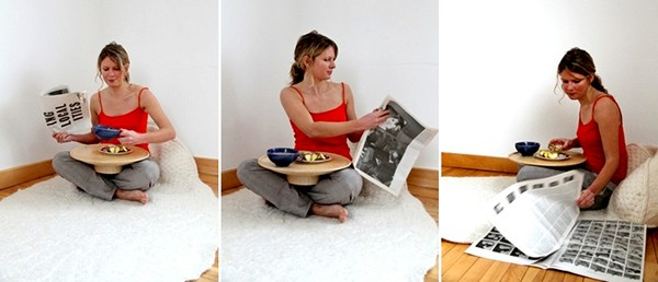 Пушистый ковер BreakfastRug со столиком для завтрака