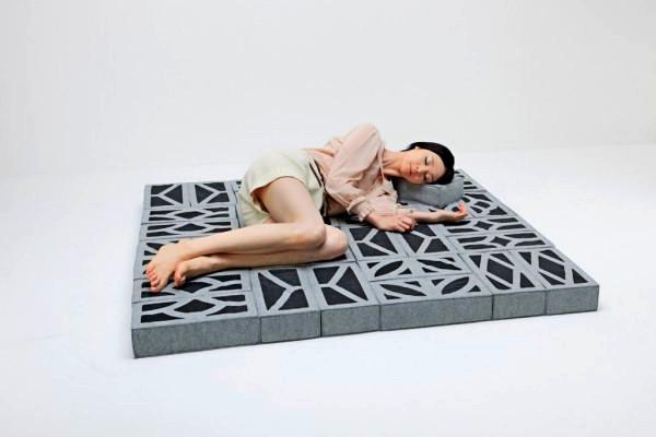 Soft Blocks, мягкая мебель из модулей-кирпичей