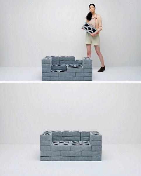 Soft Blocks, проект мебели из кирпичей от Torafu Architects