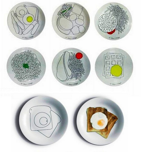 Тарелки с рисунками завтраков