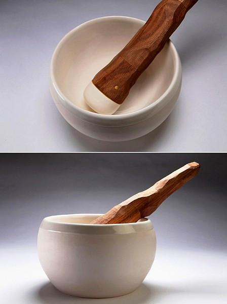 Традиционный дизайн ступки и пестика с элементами первобытного стиля