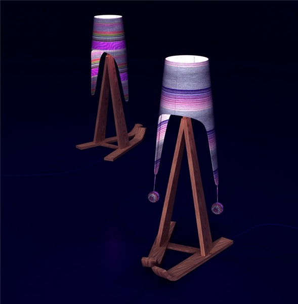 Торшер *Федор* (Fedor standard-lamp) в стильной шапке-ушанке и деревянных лыжах