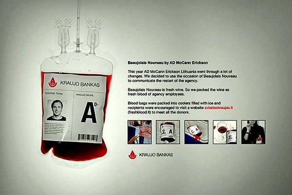 Молодое вино в пакетах для донорской крови. Необычная упаковка от студии Astos Dizainas McCann Erickson