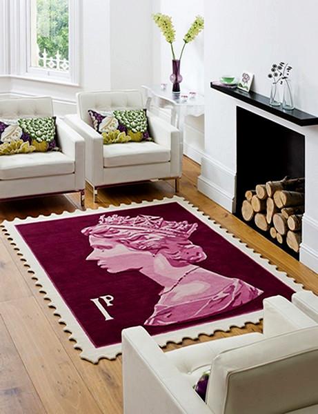 Postage Stamp Rug, дизайнерские ковры с профилем Елизаветы II