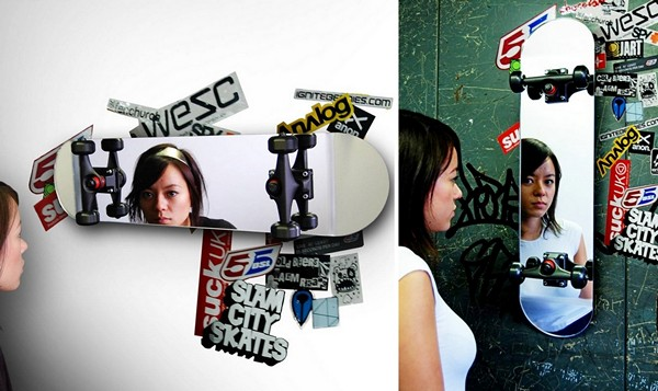 Skateboard Mirror, стильное, яркое, дизайнерское зеркало в виде скейтборда