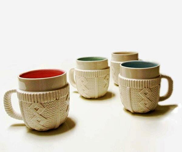 Sweater Mug, дизайнерская кружка в свитере из фарфора