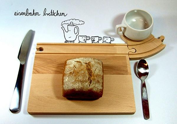 Train Breakfast Set, деревянная посуда для игры в железную дорогу