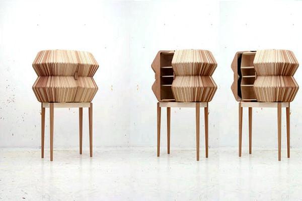 Accordion Cabinet, деревянный дизайнерский шкаф-аккордеон