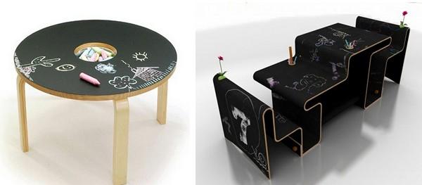 Детские столы, на которых рисуют мелом