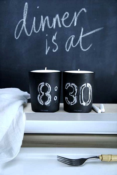 Chalkboard Candles, подсвечники для записей мелом