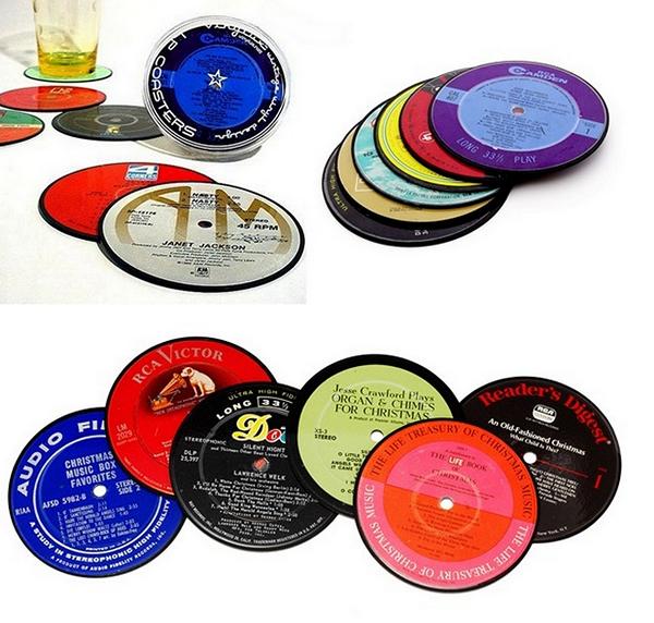 Ретро-подставки в виде виниловых пластинок