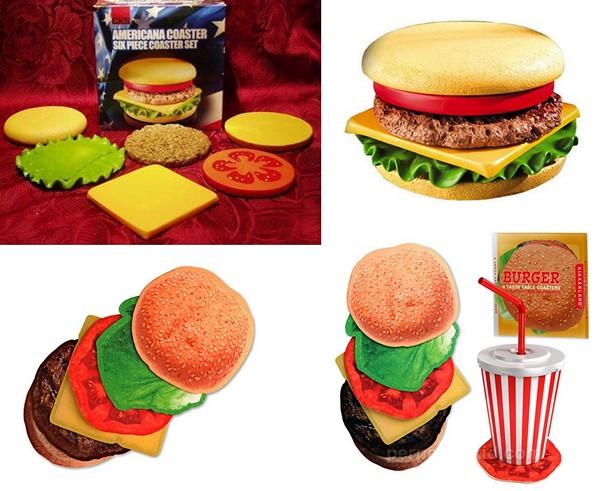 Аппетитный набор подставок в виде складного гамбургера