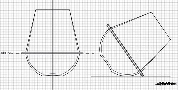 Схема расположения *стеклянного кольца* Saturn Wine Glasses