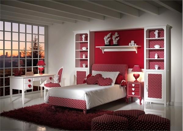 Интерьер комнаты, оформленной в стиле Дня Святого  Валентина