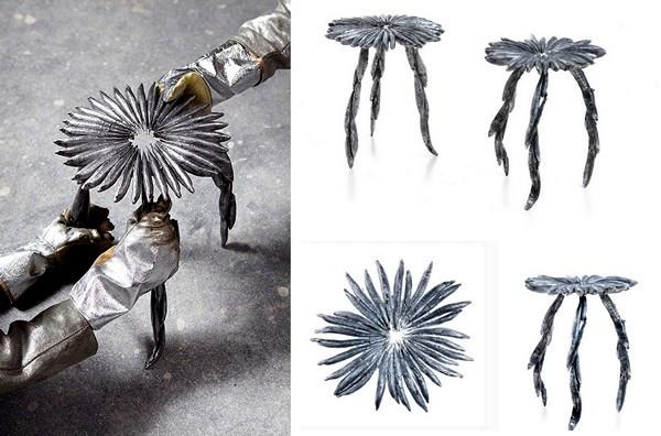 Стулья Fish chair из алюминиевых сардин. Проект Тристана Кохрэйна