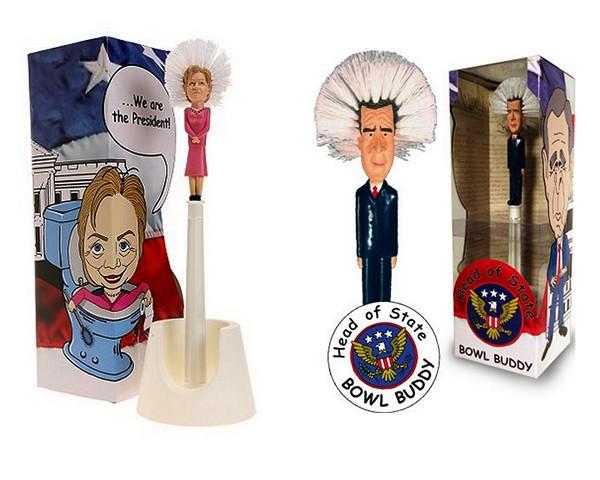 Ершики в виде Хиллари Клинтон и Джорджа Буша
