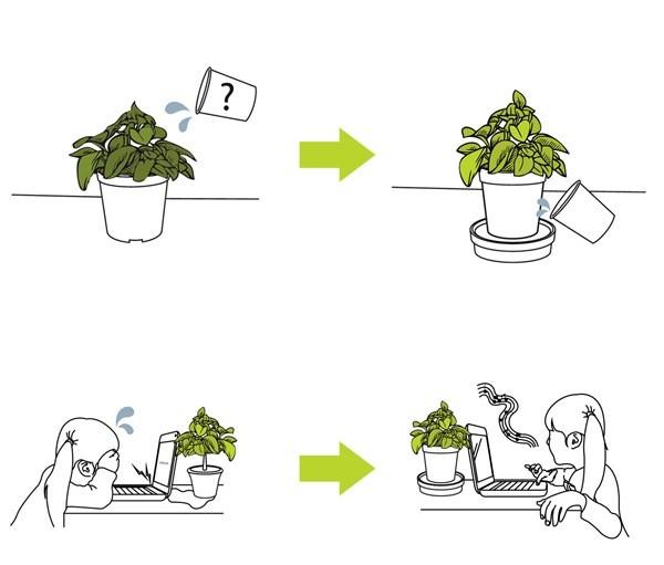 Концептуальный цветочный горшок iGrow для ленивых
