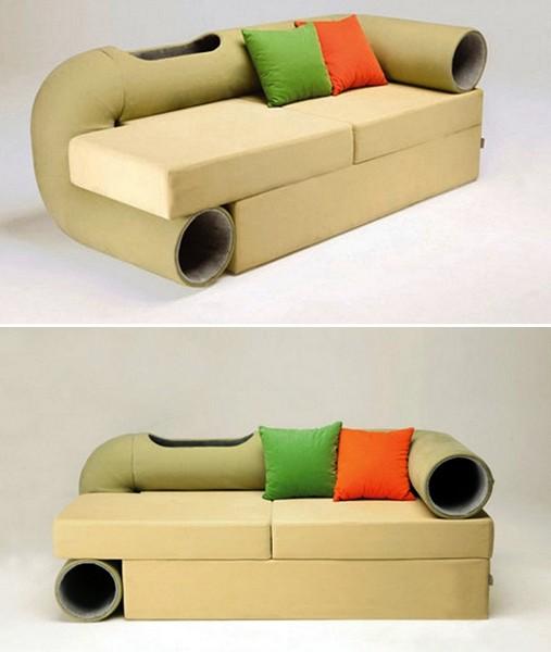 Дизайнерский диван Cat Tunnel Sofa,и коту, и хозяину на радость