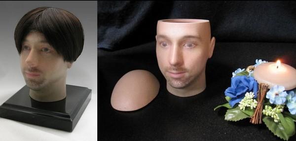 Погребальная урна в виде реалистичной человеческой головы
