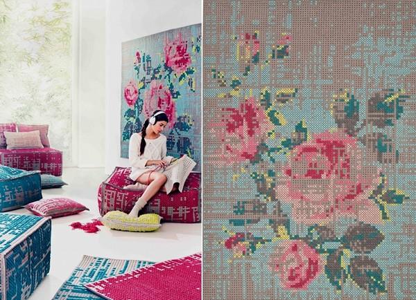 Серия дизайнерской мебели Canevas Collection. Вышивка крестиком в современном интерьере