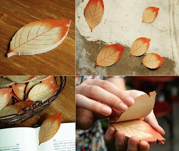 Красивые разноцветные стикеры в виде осенних листьев