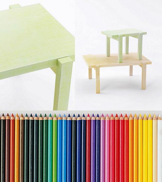 Столы, раскрашенные карандашами. Коллекция арт-мебели от Nendo