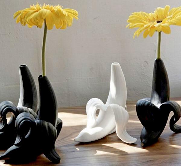 Керамический банан для живых цветов