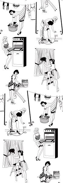 Домохозяйки в стиле pin-up на обоях от Dupenny