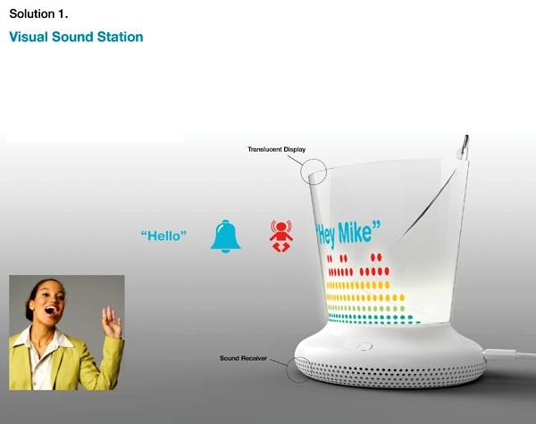 Visual Sound Station информирует человека с помощью текстовых сообщений и знаков