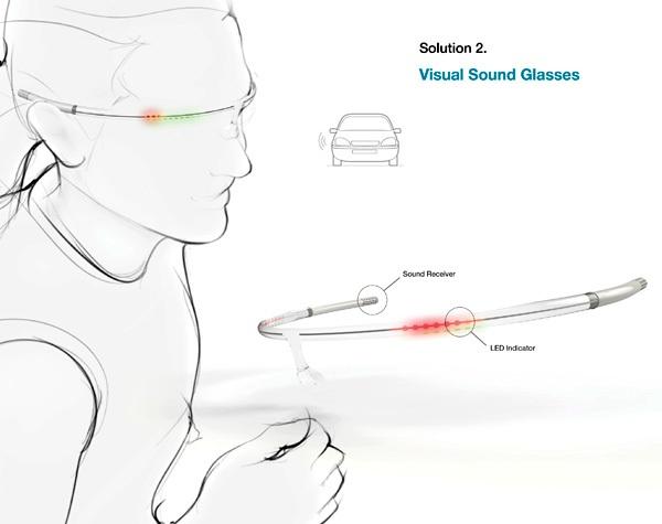 Очки Visual Sound Glasses информируют человека о звуках с помощью визуальных эффектов