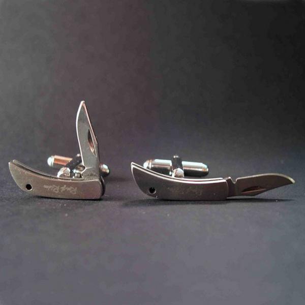 Запонки из нержавеющей стали в виде перочинного ножа