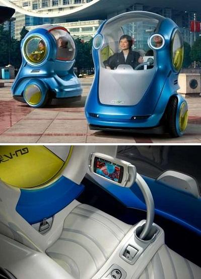Концепт EN-V - безопасный городской автомобиль от General Motors и SAIC Motor Corporation