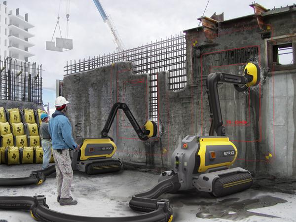 Робот ERO перерабатывает демонтированные бетонные блоки