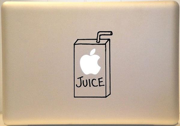 Яблочный сок на крышке девайса