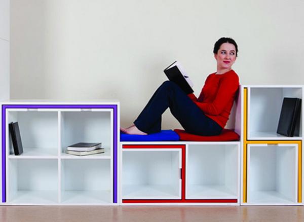 Книжный шкаф, в который вмещается 2 стола и 4 стула: «As if from nowhere»