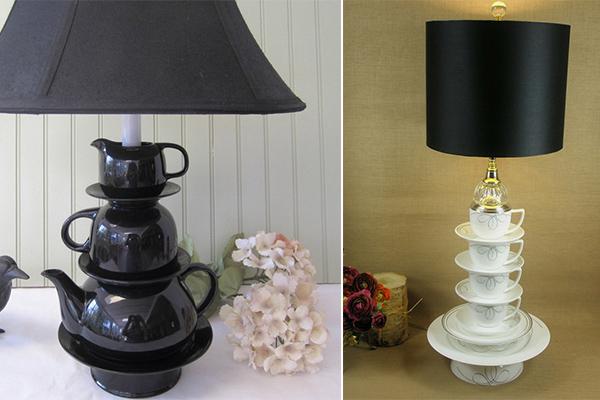Лампы, у которых вместо ножек – чашки и чайники