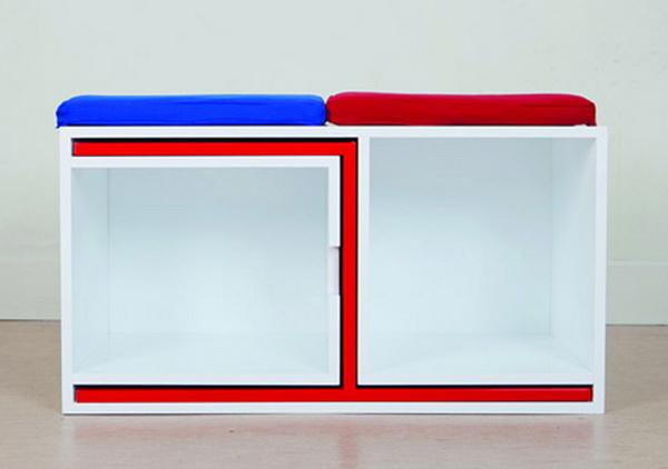 Книжный шкаф, в который вмещается 2 стола и 4 стула: коллекция «As if from nowhere»