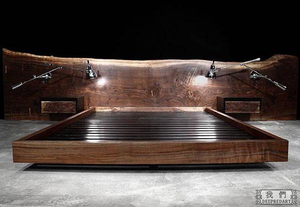 стильная деревянная кровать