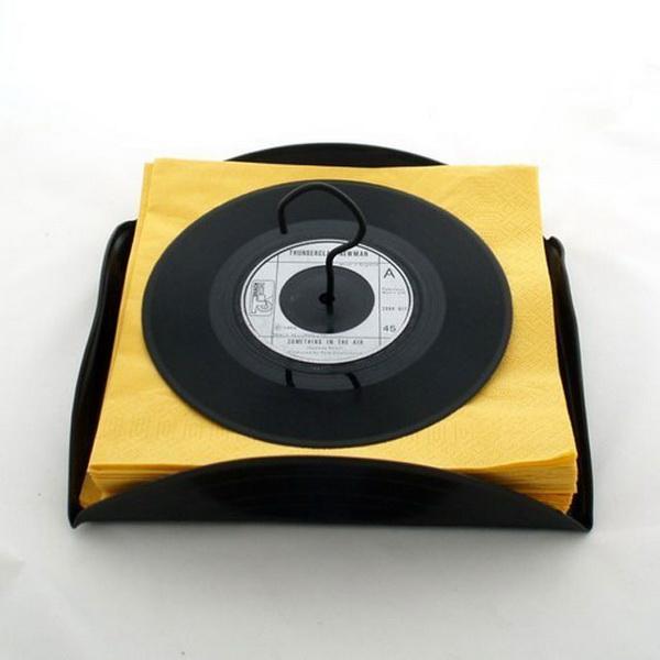 Виниловые пластинки - подставки для салфеток
