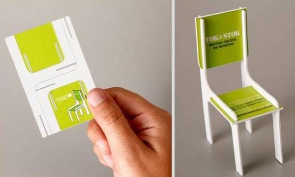 визитка в форме стула