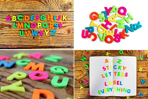 стикеры в виде разноцветных букв