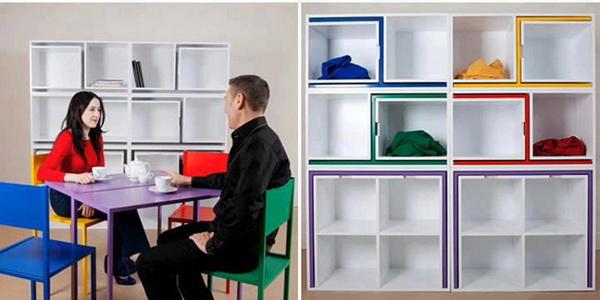 Книжный шкаф, 2стола, 4 стула: коллекция «As if from nowhere»