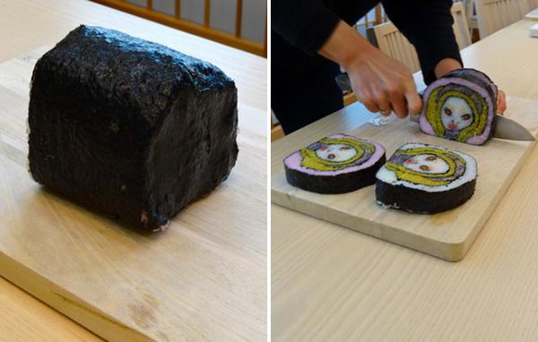 процесс создания и нарезания красочных суши
